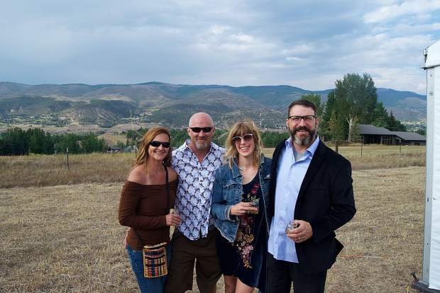 Cindy Krieg, Erik Harren and Natalie and Chris Amoroso enjoy the scenery at the Garden to Glass event in support of the Eagle Valley Land Trust.