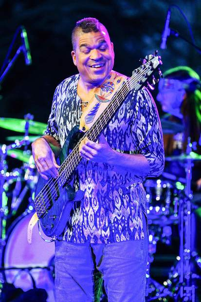 Oteil Burbridge, of the Jerry Garica Birthday Band, pleased the crowd on the second night of the two night show at the Gerald R. Ford Amphitheater. Photo by- Rachael Zimmerman