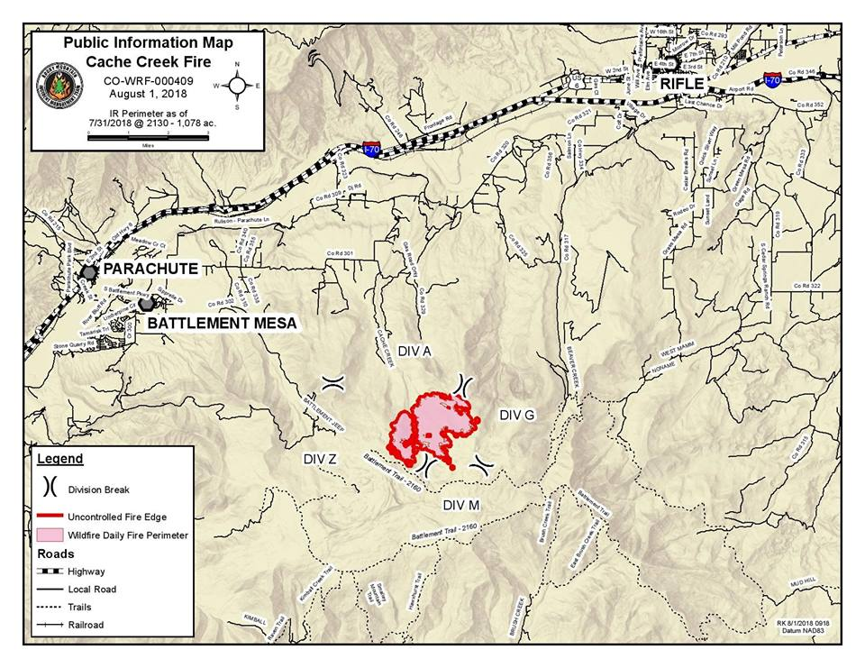 photo -Map of the Cache Creek Fire on Aug. 1.