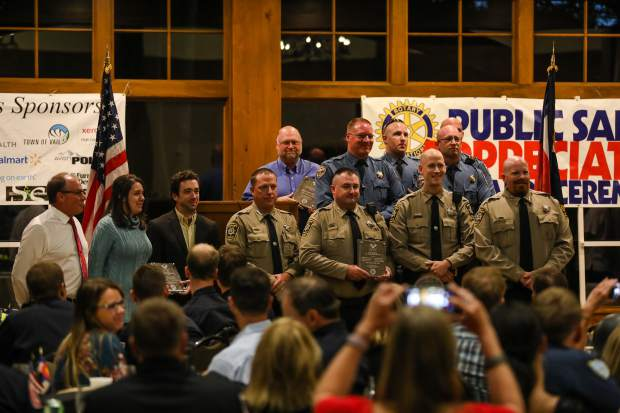 The Unit Citations for Meritorious Service Awards were given to various people in local departments and agencies for a vehicle pursuit in Eagle County during the first responders dinner Tuesday, Sept. 11, in Vail. Multiple entities worked together to safety apprehend a suspect driving erratically on Interstate 70.