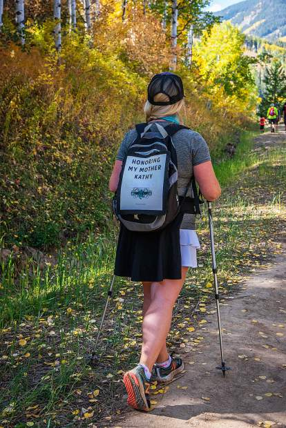 About 400 people hike on Beaver Creek Mountain for the Hike, Wine and Dine event on Sunday, Sept. 16, many of them walking in remembrance of a friend or family member who suffered from cancer.