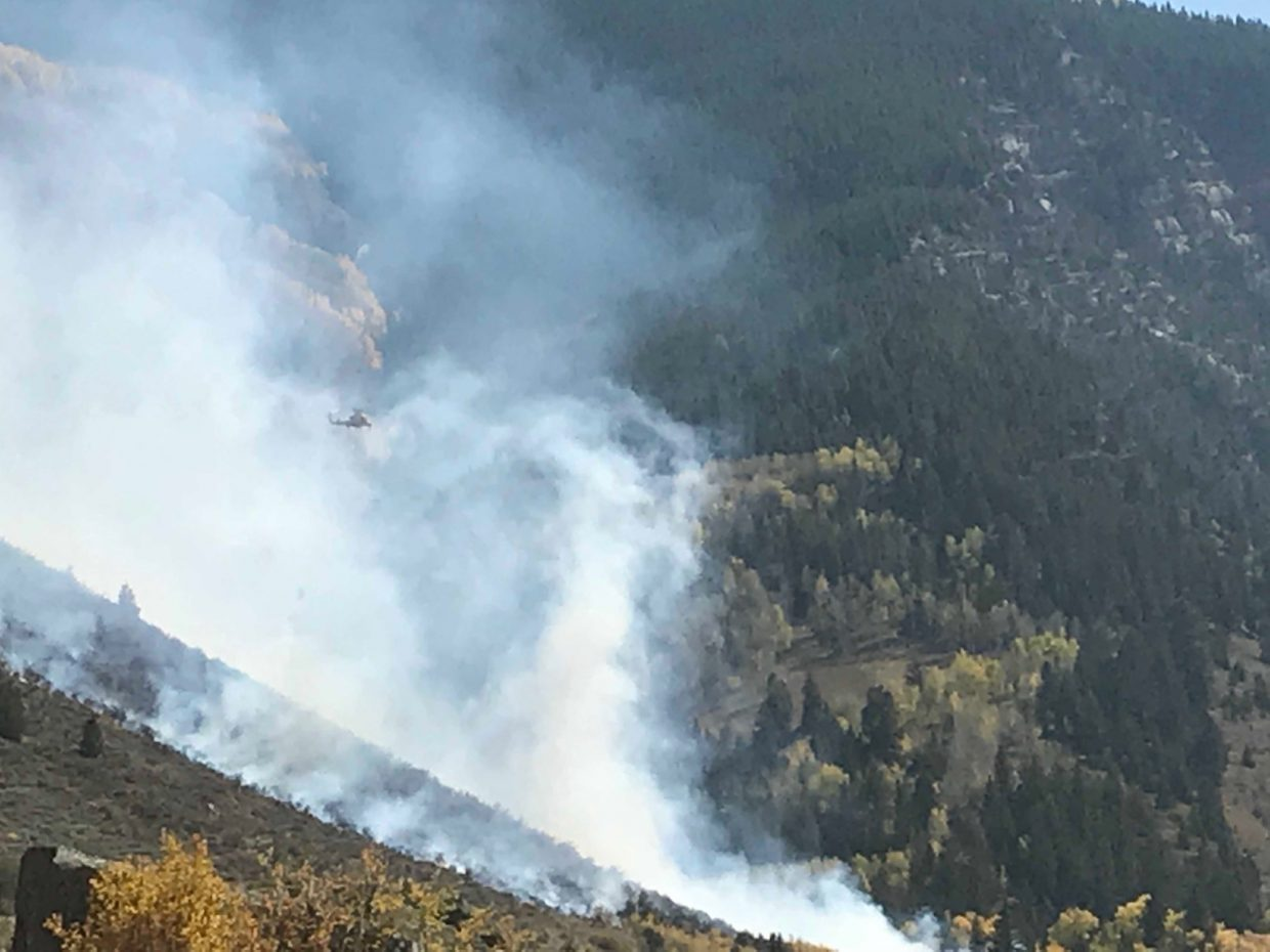 Smoke blows into the Two Elk drainage south of Minturn on Saturday, Sept. 29.