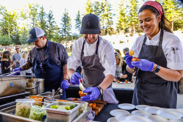 A Brazilian Acaraje, consisting of a black-eyed pea fritter, grilled shrimp and tomatillo pico during The Fall Wine & Food Classic Grand Tasting Saturday, Sept. 22, in Vail. Southern Hemisphere was the theme, featuring wine and cuisine from that region of the world, all half of it.