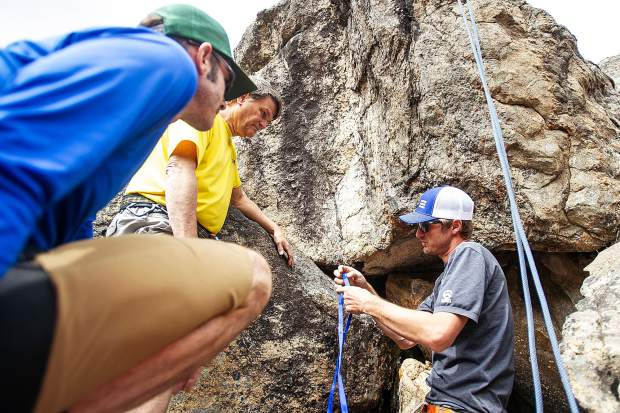 A field planning and safety clinic up Independence Pass on August 25 with KC Nau, center, David Rubin, left, and Aspen Alpine Guide Nate Rowland.