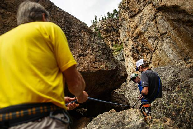 A field planning and safety clinic up Independence Pass on August 25 with KC Nau, left, David Rubin, center, and Aspen Alpine Guide Nate Rowland.