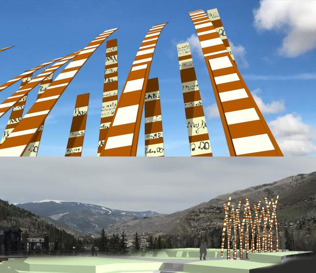 A rendering of what the art will more or less look like. It's comprised of 18 steel blades representing a grove of aspens. These will flank a major walkway between the garage and the bus stop and pedestrian bridge area. The blades will be varying heights from 16 to 20 feet.