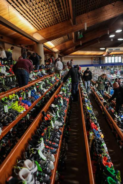 People browse ski boots at the annual Ski and Snowboard Swap Friday, Oct. 26, in Vail.