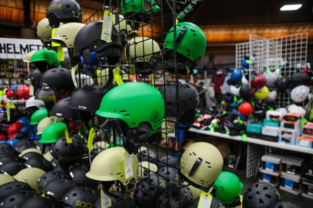 Helmets galore at the annual Ski and Snowboard Swap Friday, Oct. 26, in Vail. Good gear goes quick, so get there early.