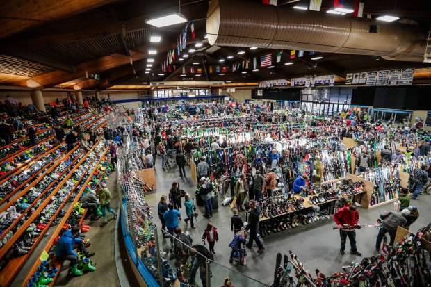 Dobson Ice Arena in Vail is filled with all sorts of winter gear during the annual Ski and Snowboard Swap.
