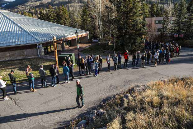 A line forms before the doors open for the annual Ski and Snowboard Swap Friday, Oct. 26, in Vail. The annual event is in its 49th year.