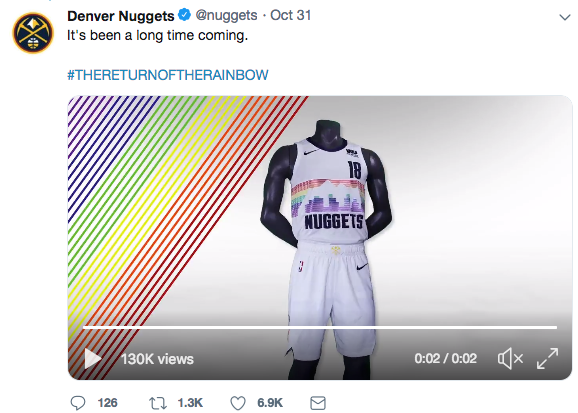 b15b107c79f The Denver Nuggets new City Edition jersey has retro rainbow look.  Screenshot from @nuggets Twitter feed