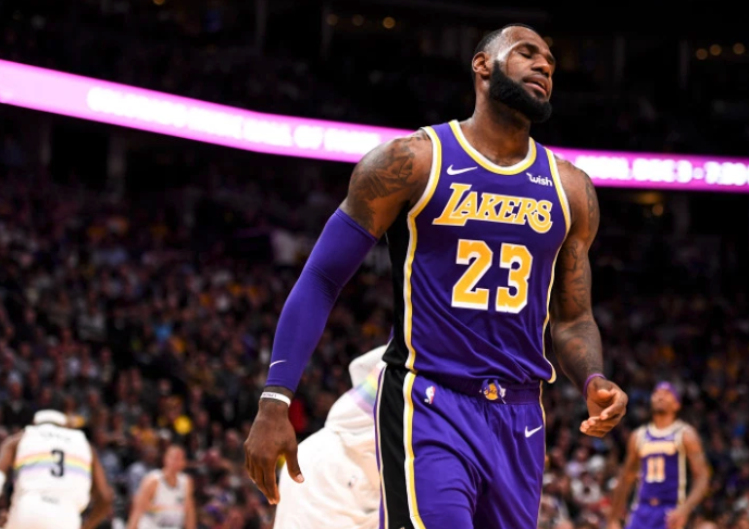 69f0a1080d9 LeBron James (23) of the Los Angeles Lakers reacts to his team s struggles  against the Denver Nuggets during the second half of the Nuggets  117-85  win on ...
