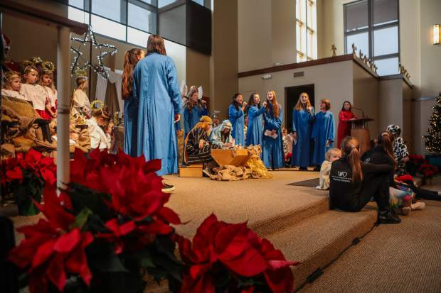 The annual Christmas pageant on Monday at Edwards Interfaith Chapel tells the biblical story of Mary, Joseph and Christ's birth in a stable in Bethlehem. The performance lasted about a half hour.