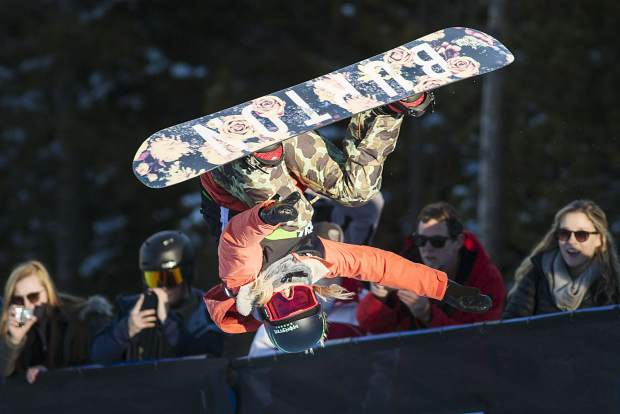 Chloe Kim of the U.S. competes in the superpipe finals during the Dew Tour event Friday, Dec. 15, at Breckenridge Ski Resort. Kim took home first with a high score of 93.