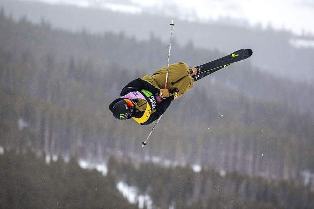 Slopestyle skier, Ferdinand Dahl, of Norway, executes a trick in midair during practice ahead of this week's Dew Tour event on Wednesday, Dec. 12, at Breckenridge Ski Resort.