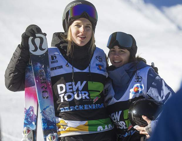 Canadian Olympic medalist Cassie Sharpe, left, and her teammate Rachel Karker react following the Dew Tour ski superpipe women's finals on Friday, Dec. 14, at Breckenridge Ski Resort. Karker placed first.
