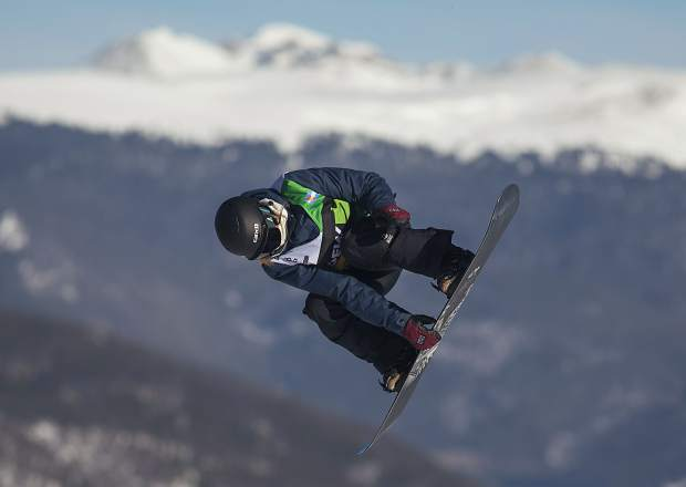 Enni Rukajarvi, of Finland, executes a trick in midair at the Dew Tour slopestyle women's finals on Friday, Dec. 14, at Breckenridge Ski Resort.