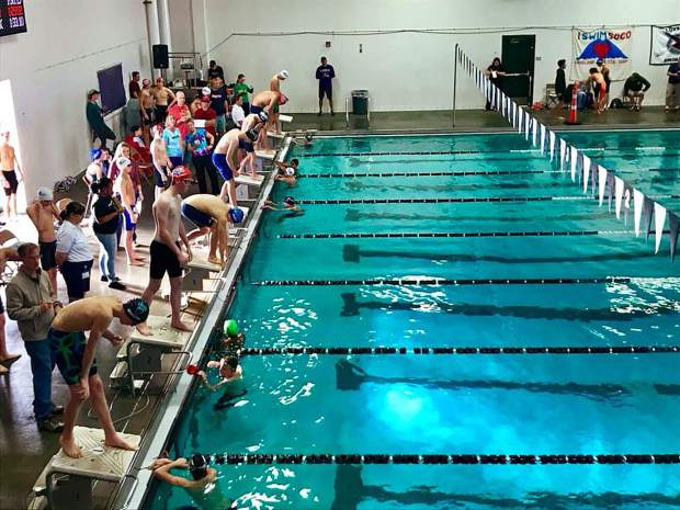 Avon swimmer Henry Prince sets up for another personal record at the meet in Loveland.