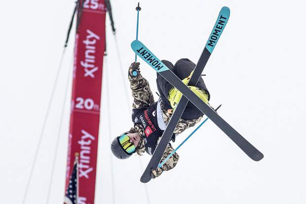 American freeskier and 2-time Olympic gold medalist David Wise executes a trick during the qualifiers of the Toyota U.S. Grand Prix halfpipe competition on Wednesday, Dec. 5, at Copper Mountain Resort.