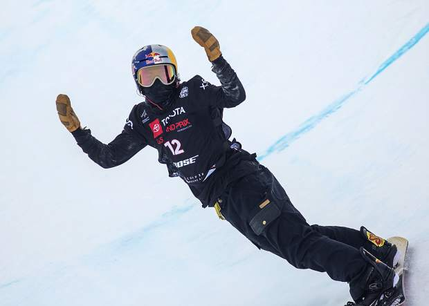 Toby Miller, of California, reacts following a fall in his last run at the Toyota U.S. Grand Prix World Cup halfpipe snowboard men's finals on Saturday, Dec. 8, at Copper Mountain Resort.
