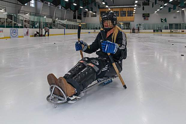Chelsea Romo, 29, of Marietta, California took part in last week's The Hartford Disabled Sports USA Ski Spectacular, where she participated in sled hockey on Friday at the Stephen C. West Ice A rena in Breckenridge. Romo is a survivor of the October 2017 Las Vegas Shooting.