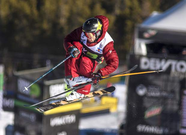 Alex Ferreira, of Aspen, executes a trick in Dew Tour's ski modified superpipe competition on Sunday, Dec. 16, at Breckenridge Ski Resort. Ferraira won the competition for the second year in a row.