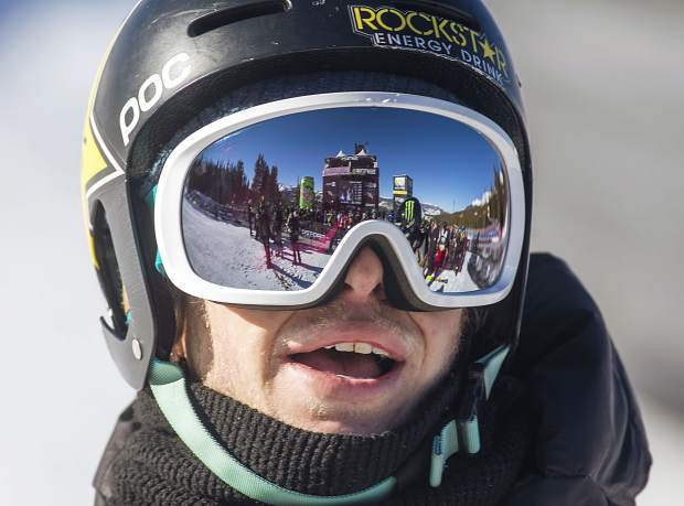 Aaron Blunck, of Crested Butte, watches for the final results at the Dew Tour ski modified superpipe competition on Sunday, Dec. 16, at Breckenridge Ski Resort. Blunck placed second overall.