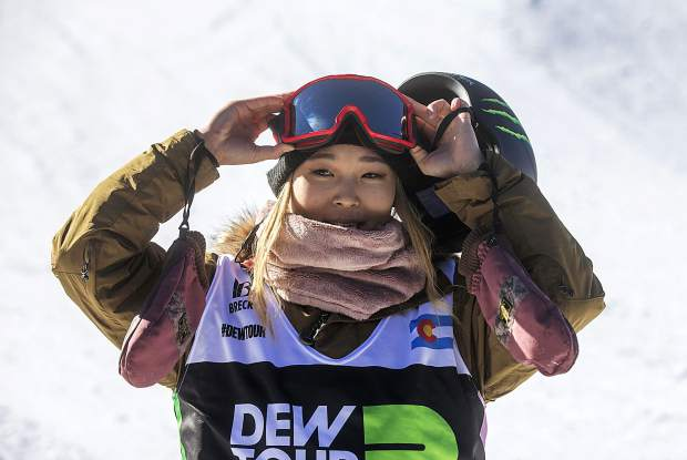 Chloe Kim smiles following her final run through the Dew Tour modified superpipe on Sunday, Dec. 16, at Breckenridge Ski Resort. Kim won the competition.