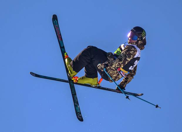 David Wise executes a trick at Dew Tour's ski modified superpipe competition on Sunday, Dec. 16, at Breckenridge Ski Resort. Wise placed third overall.