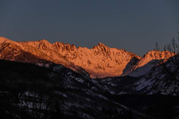The Grand Traverse on the Gore Range signs in alpine glow Thursday, Dec. 13, in Vail.