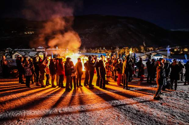 The crowd gathers around the bonfire at the opening night of Vail Snow Days. The festivities continue with two days of free music, including Nathaniel Rateliff & The Night Sweats and Shakey Graves.