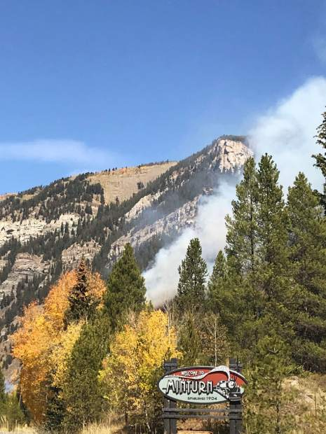 Smoke billows from the Minturn shooting range on Sept. 29. The fire reached about 10 acres and caused the precautionary evacuation of parts of Vail.