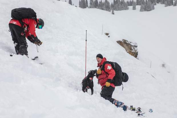Beaver Creek Ski Patrol Chris Johnson, right, and avalanche dog, Luna, practice rescuing a potential victim during avalanche training in Vail's Back Bowls Wednesday, Jan. 23, in Vail. Beacons attached to wood boards, as well as live humans, helped Vail Ski Patrol practice avalanche rescue.
