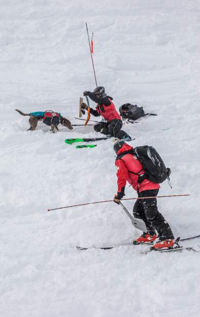 Beaver Creek Ski Patrol and Vail Ski Patrol practices avalanche rescue drills Wednesday, Jan. 23, in Vail. The joint patrol drill timed ski patrol on avalanche response.