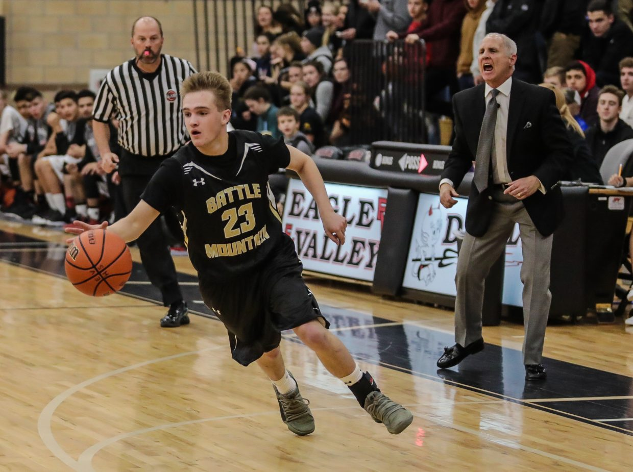 Battle Mountain's Baker Gentry plays a big role during Battle Mountain's 45-39 win at Eagle Valley on Tuesday. The senior had a huge 3-point play,