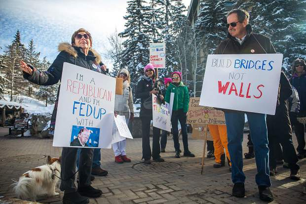 Bobbi Rhu, organizer of this years Vail Women's March, stands in front of other marchers and explains the importance of this day for women across the U.S. The march is an annual event, starting on Jan. 21, 2017, the day after President Donald Trump's inauguration. The event is 2017 stands as the largest single-day protest in U.S. history.