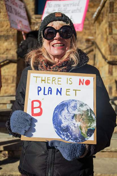 Margie Hogan, a Colorado architect at the Vail Women's March in support of environmental and women's rights.