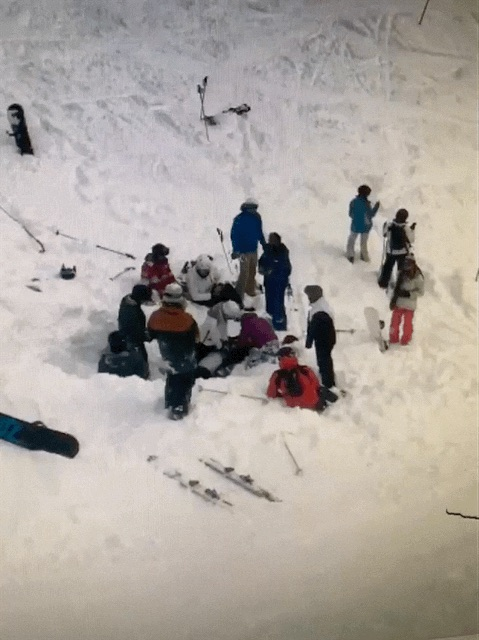 Michael Laush, of Ohio, was buried face down in snow on Vail Mountain on Saturday. A group of people passing by helped pull him from the snow and give him CPR.