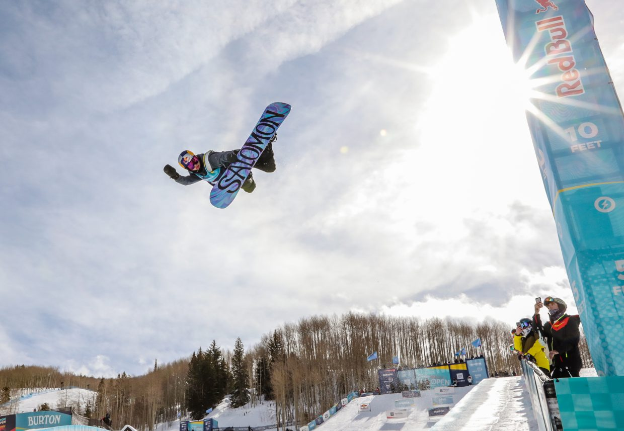 Maddie Mastro goes big on her first hit during the Women's Halfpipe Semi-Finals for the Burton US Open Snowboarding Championships Thursday, Feb. 28, in Vail. Mastro placed third in the qualifying run.