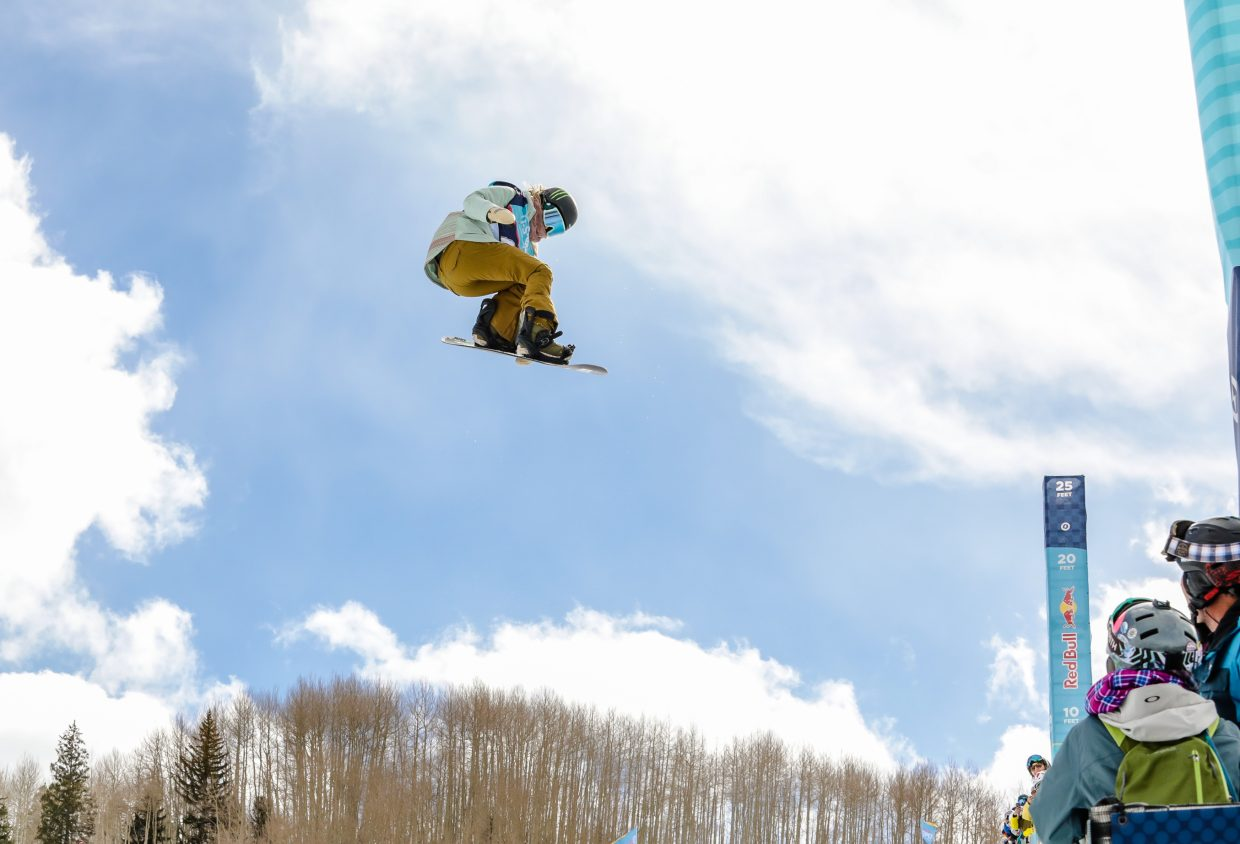 Chloe Kim on her second run of the Women's Halfpipe Semi-Finals Thursday, Feb. 28, in Vail. Kim placed first, scoring both runs above 90.
