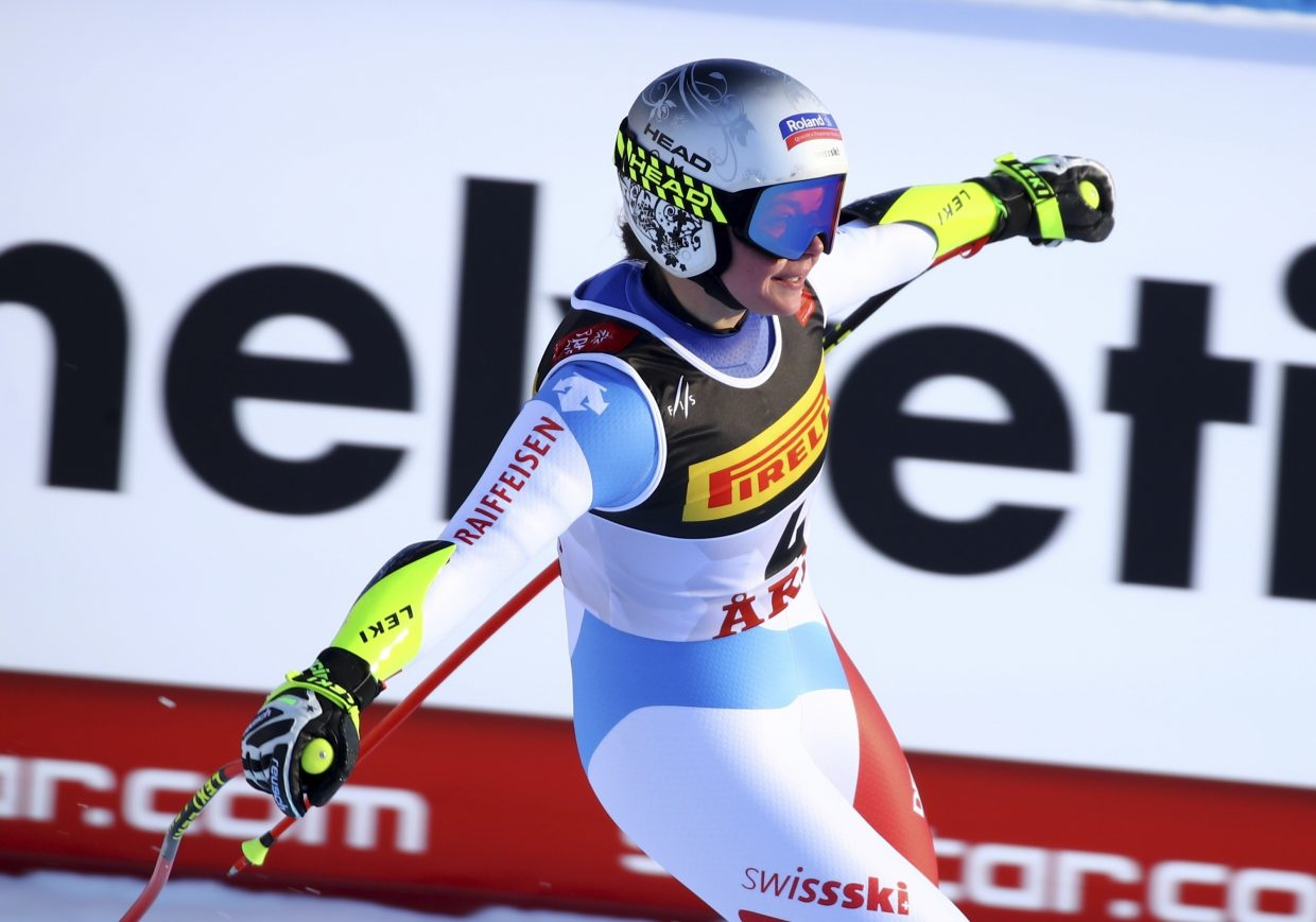 Switzerland's Corinne Suter celebrates at the end of the women's super-G at worlds on Tuesday in Are Sweden. Suter won the bronze medal.