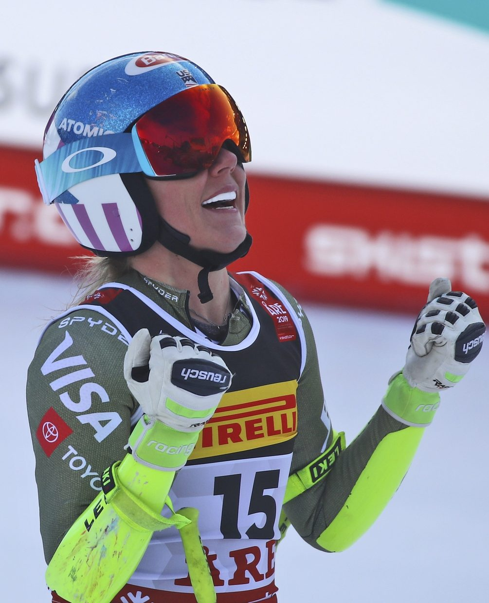 Mikaela Shiffrin celebrates victory in women's super-G at the FIS Alpine World Ski Championships in Are, Sweden. It's Shiffrin's fourth gold medal at Worlds, but her first in speed.