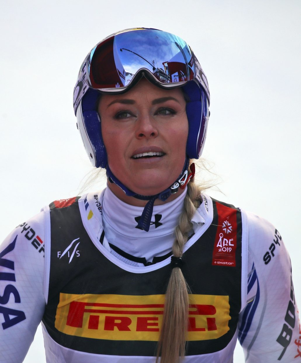 United States' Lindsey Vonn arrives at the finish area after crashing during the women's worlds super-G  in Are, Sweden, on Tuesday. Vonn said she will be able to compete in Sunday's downhill.