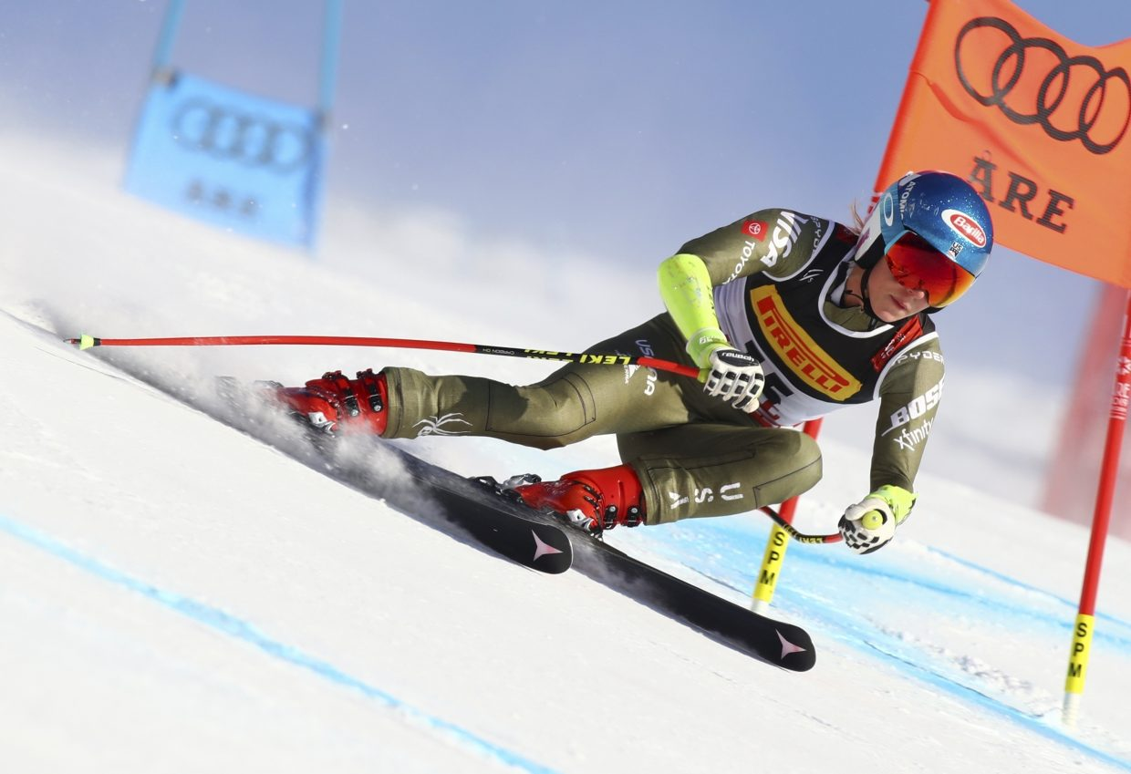 Mikaela Shiffrin flles to super-G gold at the FIS World Alpine Ski Championships in Are, Sweden on Tuesday.