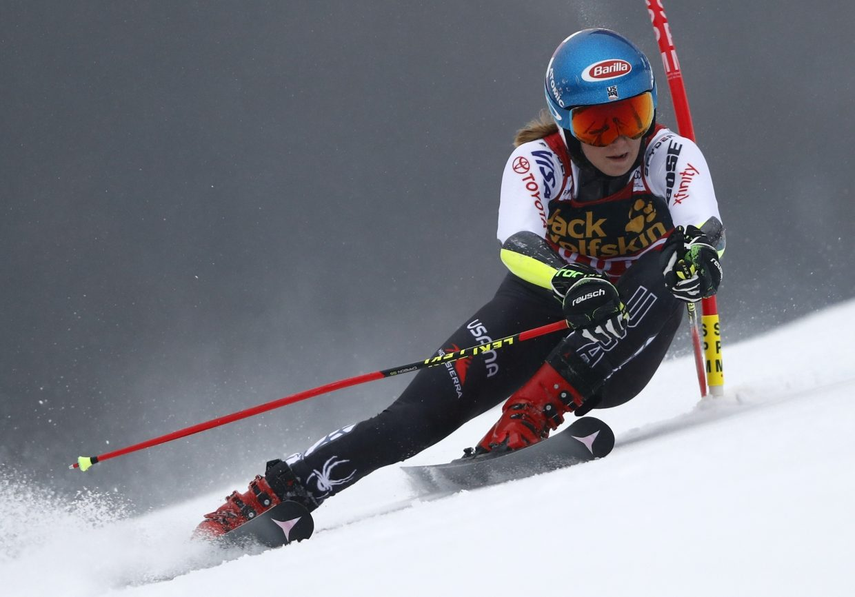 Mikaela Shiffrin speeds down the course during Friday's World Cup giant slalom, in Maribor, Slovenia.