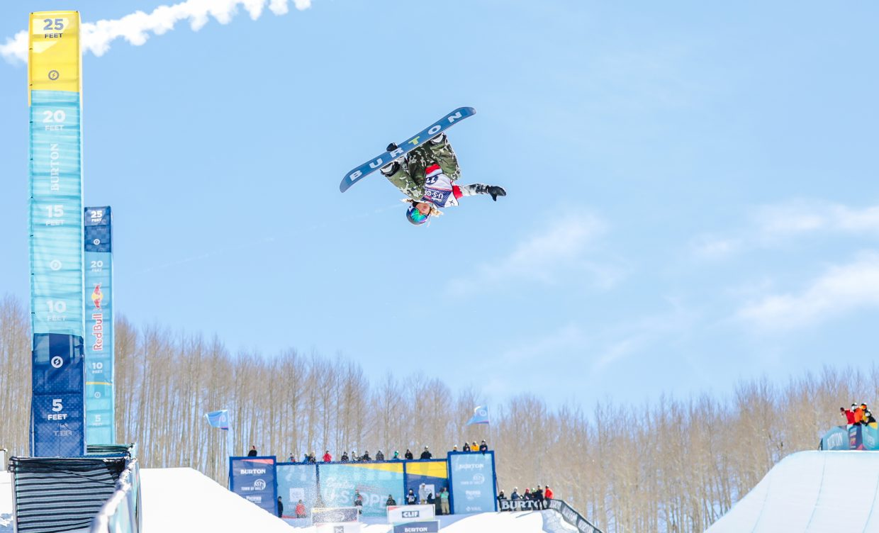 Valentino Guseli, 13-years-old, of Australia gets inverted on his second, and winning, run during the Junior Jam for the Burton US Snowboarding Championships Tuesday, Feb. 26, in Vail. The Junior Jam is for athletes 14-year and younger, and kicks off the annual event.
