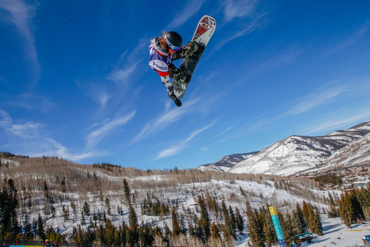 Valentino Guseli, 13-years-old, of Australia flies high during the Junior Jam for the Burton US Snowboarding Championships Tuesday, Feb. 26, in Vail. Guseli earned a score of 96.99.