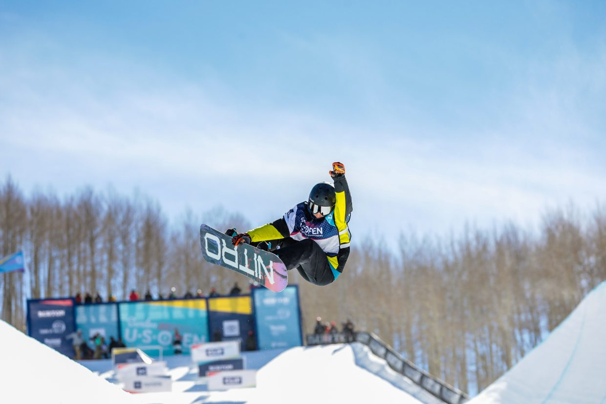 Tommy Okesson of U.S. competes in the Junior Jam for the Burton US Open Snowboarding Championship Tuesday, Feb. 26, in Vail.