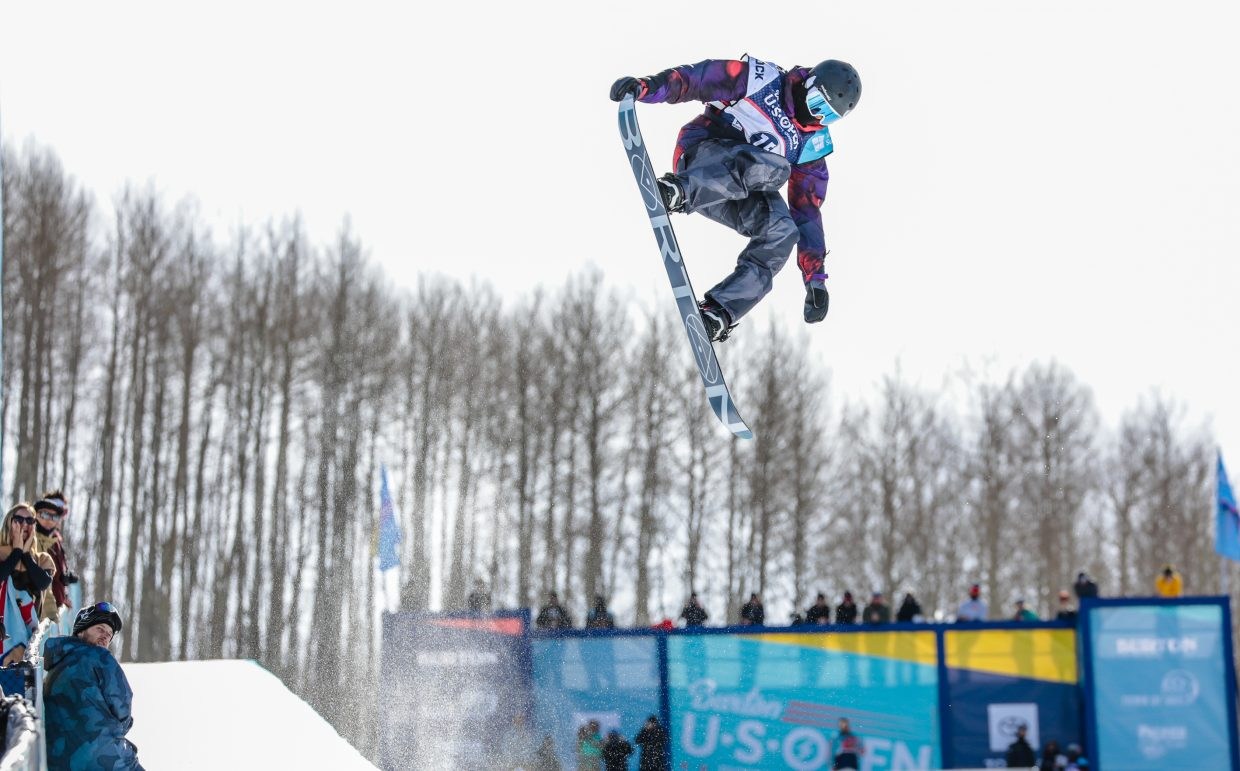 Fynn Bullock-Womble, 14, of Edwards tail grabs during the Burton US Open Snowboarding Championships' Junior Jam Tuesday, Feb. 26, in Vail. Bullock-Womble took third place.