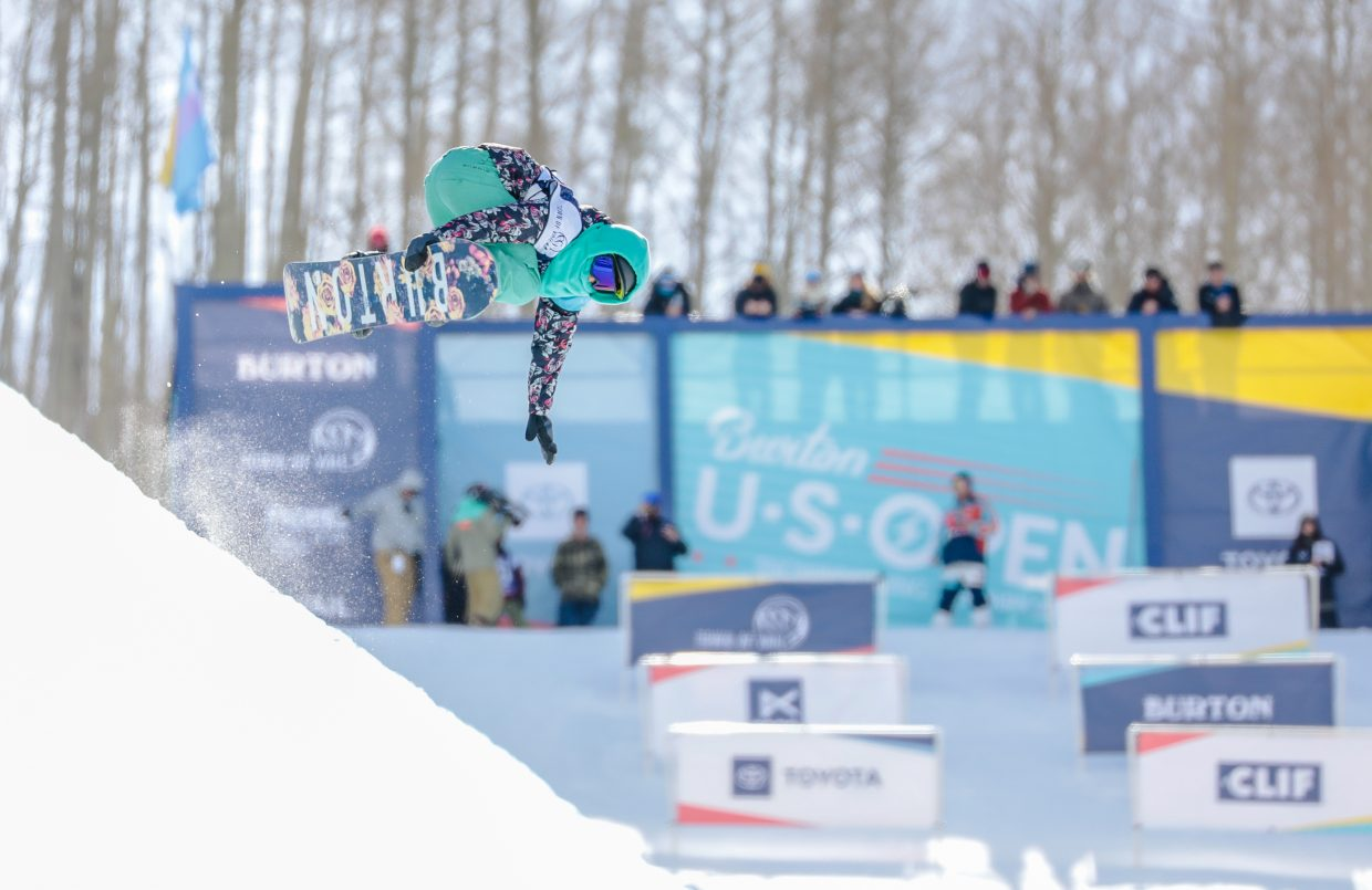 Riley Rivera competes in the Junior Jam for the Burton US Open Snowboarding Championship Tuesday, Feb. 26, in Vail.